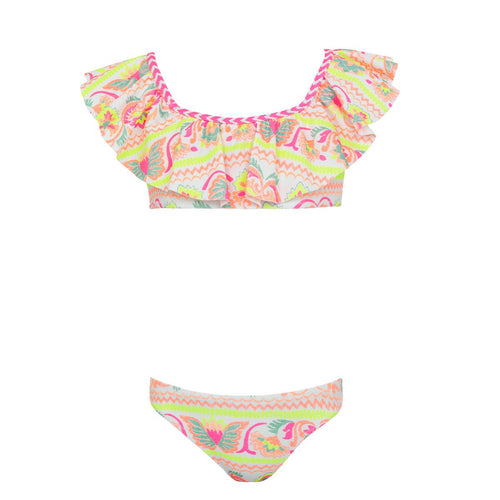 White & Neon Patterned Off the Shoulder Bikini