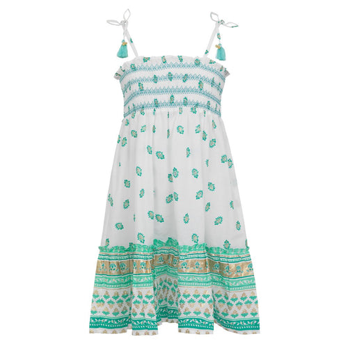 Aqua & Gold Patterned Bell Dress