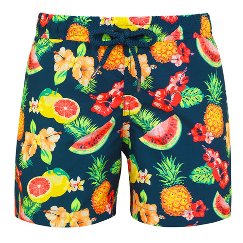Teal Tropical Printed Swim-shorts