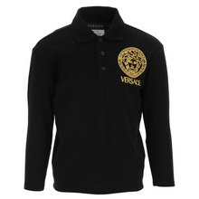 Load image into Gallery viewer, Black Long Sleeved Polo Shirt