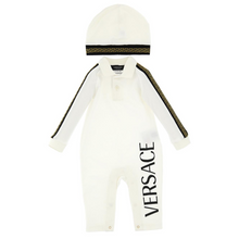 Load image into Gallery viewer, Ivory Babygrow & Hat Versace Set