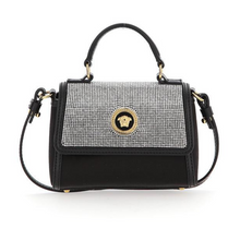 Load image into Gallery viewer, Black Satin Diamond Encrusted Handbag