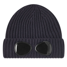 Load image into Gallery viewer, Navy Knitted Goggle Beanie