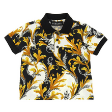 Load image into Gallery viewer, Black Baroque Polo Shirt