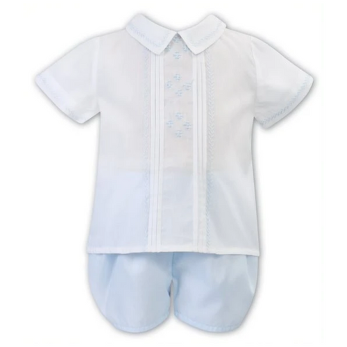 White & Blue Embroidered 2-piece