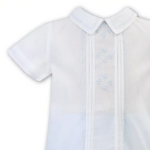 Load image into Gallery viewer, White & Blue Embroidered 2-piece