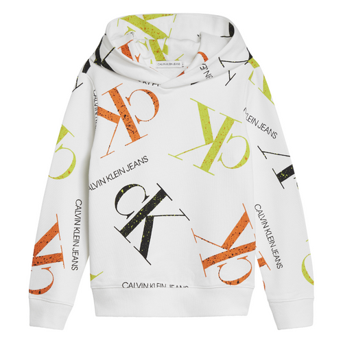 White All-Over Logo Hoodie