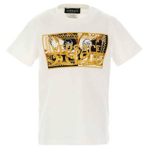Ivory & Gold Embroidered Logo T-Shirt