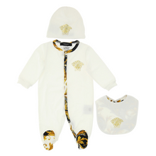 Load image into Gallery viewer, Ivory & Baroque Hem Babygrow Set