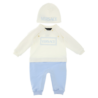 Ivory & Blue Babysuit Set