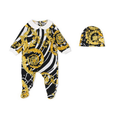 Black and Gold Baroque Babygrow