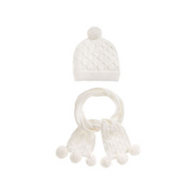 Load image into Gallery viewer, Ivory Knitted Hat & Scarf Set