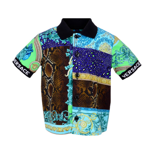 Blue Patchwork Medusa Shirt