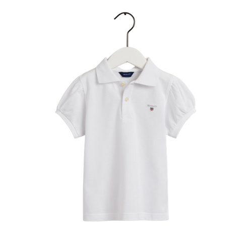 White Puff Sleeved Polo