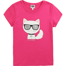 Load image into Gallery viewer, Pink Karl Cat T-Shirt