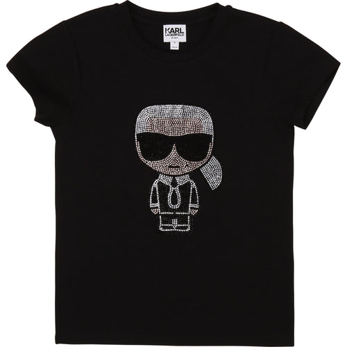 Black Embellished Cartoon T-Shirt