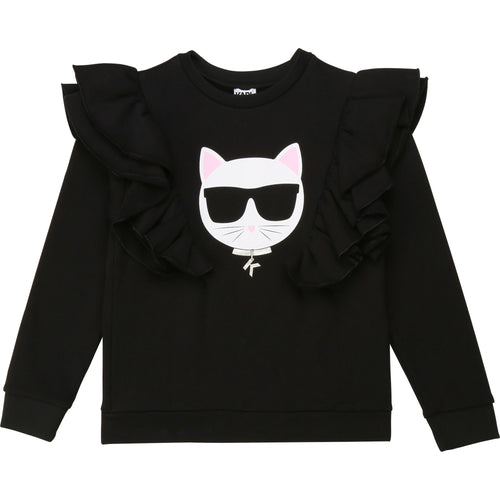 Black Ruffle Cat Sweat Top