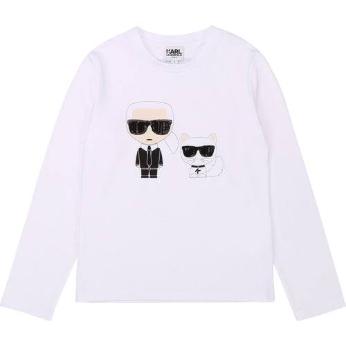 White Karl & Cat Top