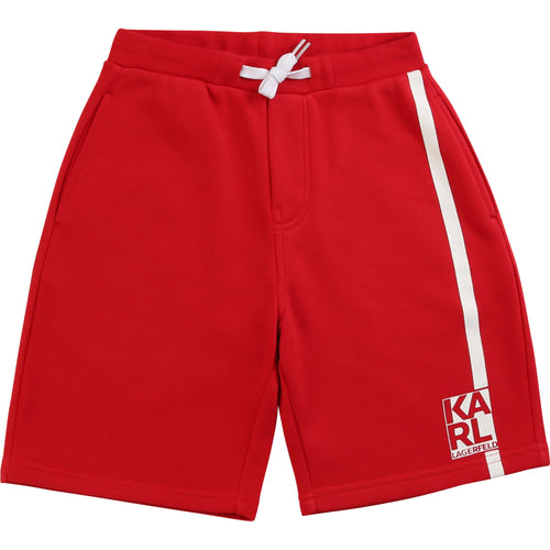 Red Logo Stripe Sweat Shorts