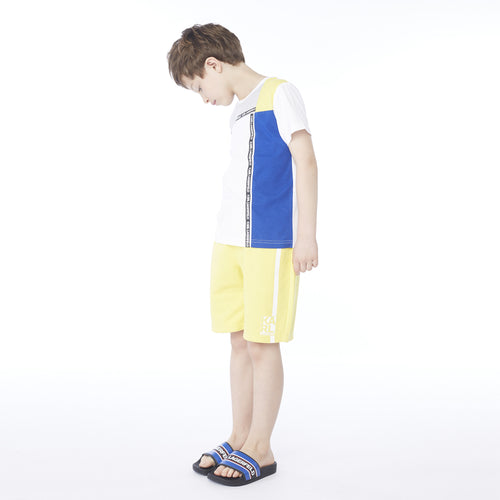 Boys Colour Block White T-Shirt