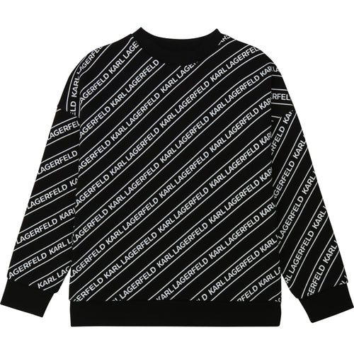 Black Tape Print Sweat Top