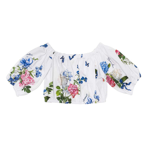 Monnalisa Sale White Floral Bardot Top