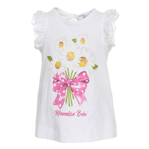 Monnalisa Sale White Daisy & Bow T-Shirt