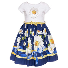 Load image into Gallery viewer, Monnalisa Sale White & Navy Daisy Dress