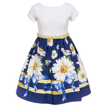 Load image into Gallery viewer, White & Navy Daisy Dress