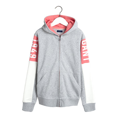 Grey Logo Girls Zip up Hoodie