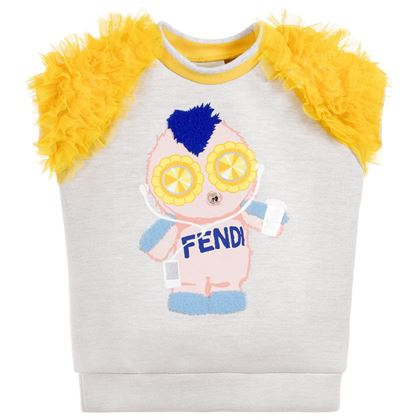 Fendi Girls Grey Neoprene Tulle Top