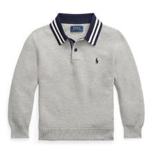 Load image into Gallery viewer, Grey Textured Polo Sweater