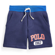 Load image into Gallery viewer, Navy Polo Logo Sweat Shorts