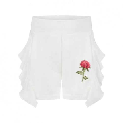 Monnalisa Sale White Frill Rose Shorts