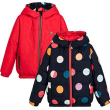 Load image into Gallery viewer, Red & Navy Polka Dot Reversible Jacket