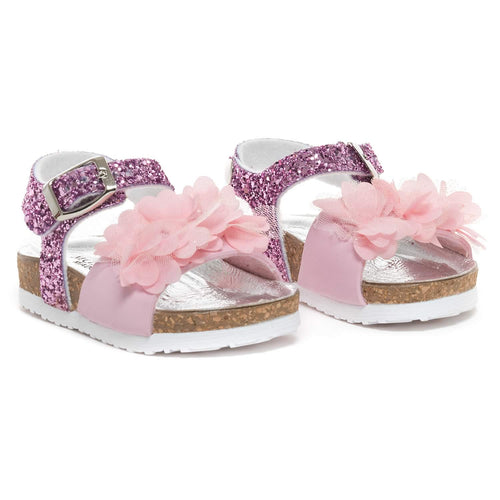 Monnalisa Girls Pink Flower Glitter Sandals
