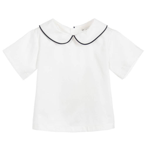 White & Navy Peter Pan Collar Shirt