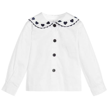 White Heart Embroidered Blouse
