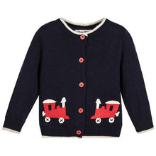 Load image into Gallery viewer, Navy Toy Train Cardigan