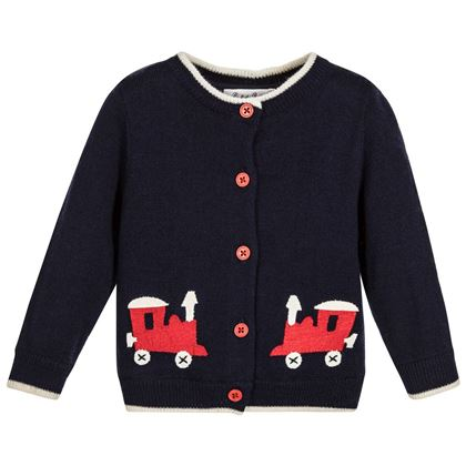 Navy Toy Train Cardigan