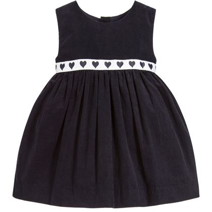 Navy Pinafore Heart Trim Dress