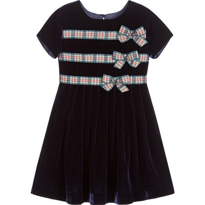 Navy Velvet & Tartan Bow Dress