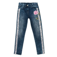 Load image into Gallery viewer, Monnalisa Sale Denim Rose & Sequin Jeans