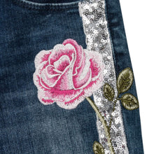 Load image into Gallery viewer, Denim Rose & Sequin Jeans