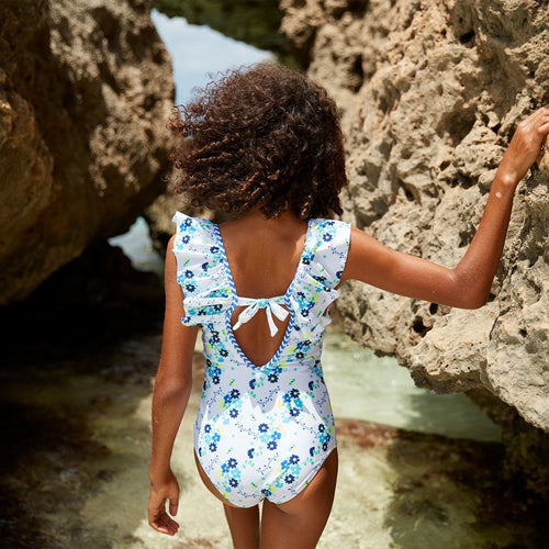 White & Blue Floral Swimsuit