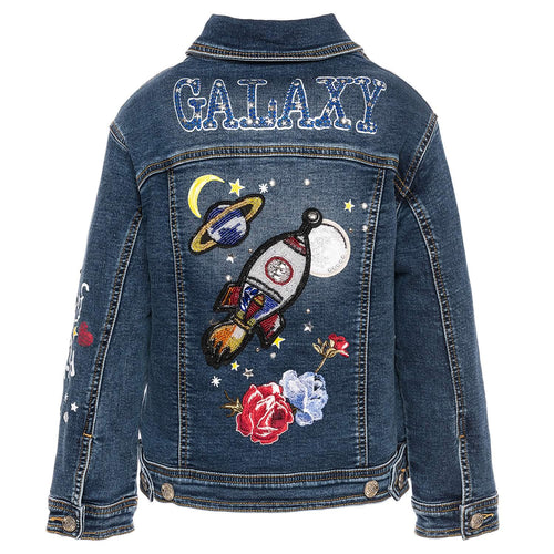 Monnalisa Sale Denim Space Embellished Jacket