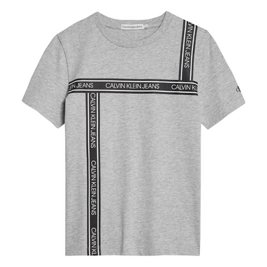 Grey Tape Print T-Shirt