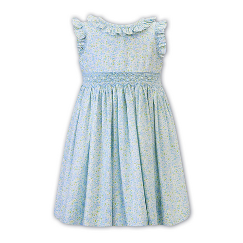 Blue & Green Ditsy Floral Frill Dress