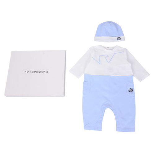 Pale Blue Babygrow & Hat Gift Box