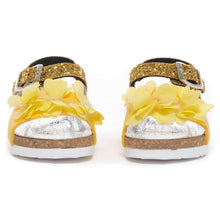 Load image into Gallery viewer, Yellow Flower Glitter Sandals